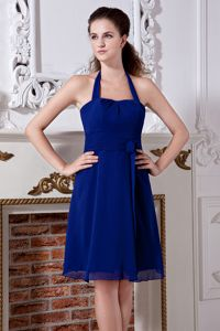 Blue Halter Mini-length Chiffon Party Dama Dresses with Bow in Kirkland