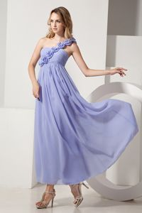 A-line One Shoulder Hand Flowery Chiffon Party Dama Dresses in Lilac in Auburn