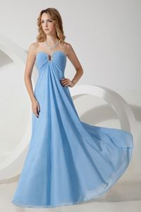 Baby Blue Sweetheart Beaded Floor-length Chiffon Dresses For Damas in Bremerton