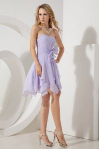 Lilac Sweetheart Mini-length Chiffon Party Dama Dresses with Bowknot in Bothell