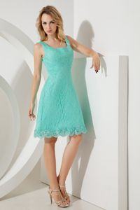 Mini-length Lace Turquoise Dama Dress For Quinceaneras in Lynnwood WA