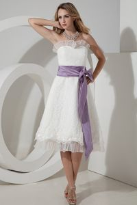 Elegant Strapless Tea-length Lace Dama Dresses with Bow in Port Townsend