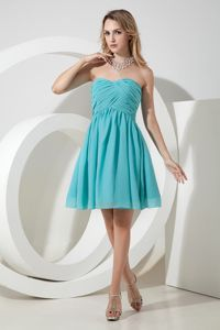 Turquoise Sweetheart Ruched Knee-length Chiffon Dama Dresses in Kirkland