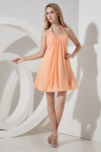 Halter Mini-length Chiffon Ruched 15 Dresses For Damas in Orange in Poulsbo