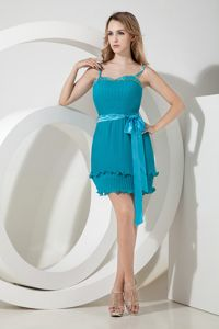 Teal Beaded Mini-length Organza Quince Dama Dresses with Spaghetti Straps Bow