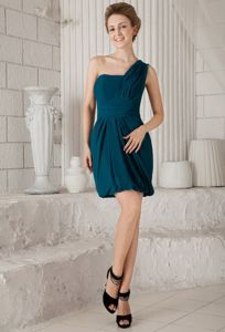 One Shoulder Mini-length Chiffon Party Dama Dresses in Turquoise in Kirkland