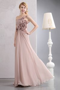 Light Pink One Shoulder Chiffon Dama Dress with Hand Made Flowers in Everett