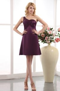 One Shoulder Mini-length Taffeta Dama Dress Under 100 with Ruches in Purple