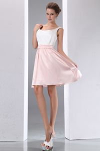 White and Pink Scoop Mini-length Taffeta Quince Dama Dresses in Lynnwood