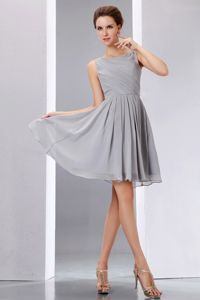 Pretty Grey Scoop Knee-length 15 Dresses For Damas in Chiffon with Ruches