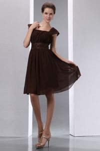 Brown Beaded Knee-length Chiffon Gorgeous Dama Dress in Friday Harbor