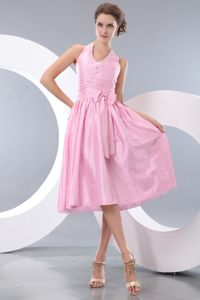 Pink Halter Tea-length Taffeta Dresses For Damas with Beading and Bowknot