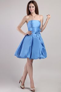 Strapless Mini-length Taffeta Blue Quinceanera Dama Dresses in Bremerton