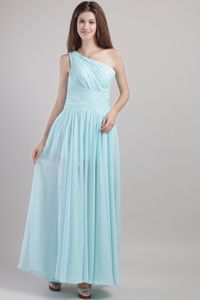 Chuquicamata Chile Light Blue One Shoulder Ruches Quinceanera Dama Dress