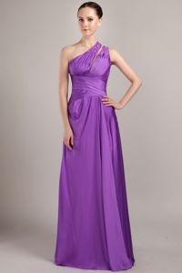 Purple One Shoulder Beading Dama Dress For Quinceanera in Calama Chile