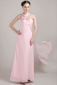 Baby Pink Asymmetrical Chiffon Dama Dress For Quinceanera in Taltal Chile