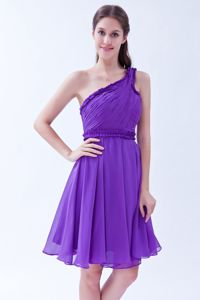 Alto Hospicio Chile Purple One Shoulder Ruches Dama Dress For Quinceanera