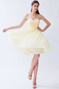 Pozo Almonte Chile Light Yellow Sweetheart Pleats Quinceanera Dama Dress