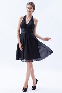 Black Empire Halter Ruches Dama Dress For Quinceanera in Uribia Colombia