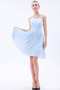 Baby Blue Straps Ruches Dama Dress For Quinceanera in Tunja Colombia