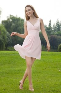 Mini-length Baby Pink Empire V-neck Dama Dress in Ilave Peru with Ruches