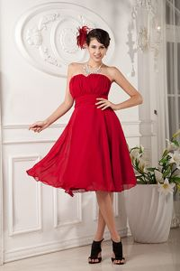 La Ceja Colombia Red A-line Sweetheart Ruches Dama Dress For Quinceanera