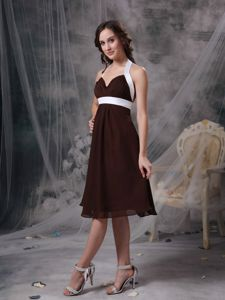 Brown Column Halter Ruches Dama Dress For Quinceanera in Baranoa Colombia