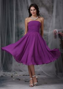 Purple Empire Strapless Ruches Dama Dress For Quinceanera in Mala Peru