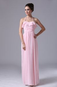 Valledupar Colombia Halter Pink Dama Dress For Quinceanera with Ruches