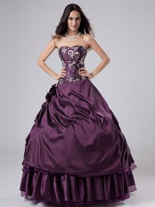 Dark Purple Strapless Full-length Quince Dress with Embroidery and Flowers