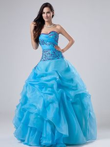 Sweetheart Baby Blue Long Dress for Quince with Embroidery and Pick-ups