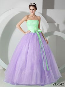 Lovely Green and Lilac Strapless Long Quinceanera Gown with Sash in Troy