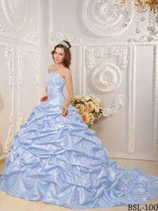 Pretty Lilac Appliqued Strapless Court Train Quinceaneras Dresses in Boise