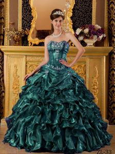 Sweetheart Hunter Green Long Quinces Dress with Embroidery and Pick-ups