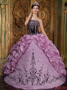 Rose Pink Strapless Long Quinceanera Gown with Embroidery and Pick-ups