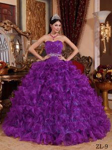 Elegant Sweetheart Purple Long Quinceanera Gowns with Ruffles in Eugene