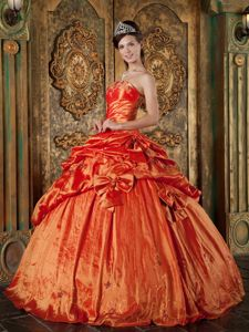 Orange Red Lace-up Long Dresses for Quince with Pick-ups and Bowknots