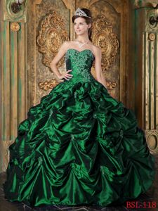 New Appliqued Sweetheart Hunter Green Long Quinces Dress with Pick-ups