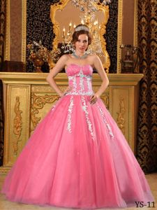 Watermelon Beaded Sweetheart Long Quinceanera Gowns with Appliques