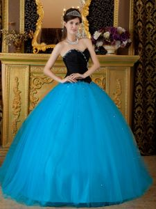 Simple Black and Blue Floor-length Quinceanera Gown Dress with Beadings
