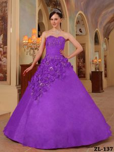 Sweetheart Purple Full-length Quinceaneras Dresses with Flowers in Boise