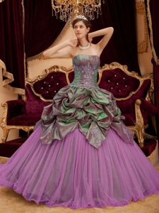 Rose Pink Strapless Princess Quinceanera Gown with Pick-ups in Cedar Rapids