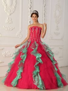 Hot Red and Green Strapless Floor-length Quinceanera Dress with Ruffles