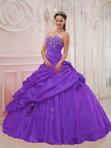 Appliqued Sweetheart Purple Sweet 16 Dresses in Floor-length in Delavan