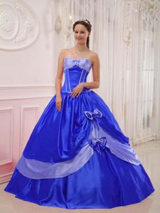 Sweetheart Floor-length Quince Dresses in Blue with Beading and Bowknot