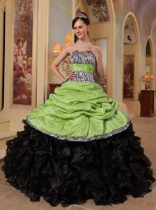 Yellow Green and Black Strapless Floor-length Quince Dresses with Pattern