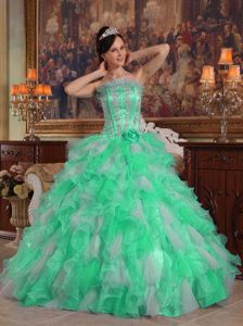 Green Strapless Quince Dresses in Floor-length with Appliques and Ruffles