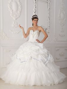 White Sweetheart Floor-length Sweet 16 Dress with Beading and Pick-ups