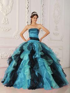 Multi-color Ruffled Strapless Floor-length Sweet 16 Dresses in Comstock