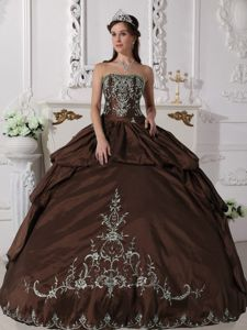 Brown Strapless Floor-length Sweet Sixteen Dress with Pick-ups in Blair
